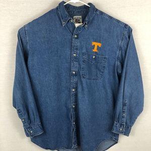 VINTAGE Tennessee Vols Denim Button Down Tee -XL